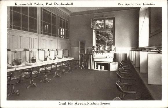 Ak Bad Reichenhall Oberbayern, Kuranstalt Salus, Bes. Fritz Jautschus, Saal für Apparat Inhalation