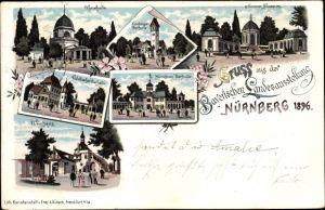 Litho Nürnberg in Mittelfranken Bayern, Bayerische Landesausstellung 1896, Bierhalle, Weinhaus