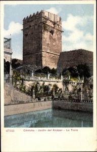 Ak Cordoba Andalusien Spanien, Jardin del Alcázar, La Torre