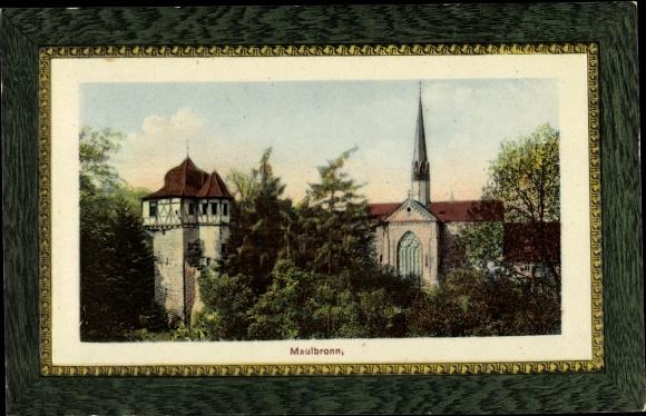 Präge Passepartout Ak Maulbronn im Enzkreis Baden Württemberg, Blick auf das Kloster