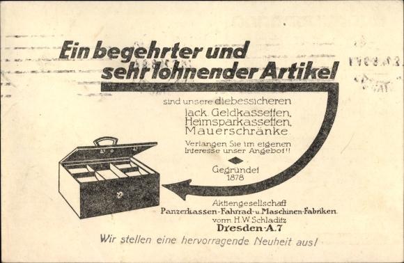 Ak Panzerkassen-, Fahrrad- und Maschinenfabriken H.W. Schladitz aus Dresden,Geldkasette,Reklamekarte