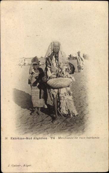 Ak Extrême Sud Algerien, Mendiante de race hartania, Bettlerin