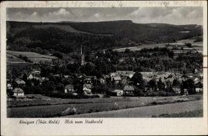 Ak Königsee Rottenbach in Thüringen, Ortspanorama mit Blick zum Stadtwald, Kirche