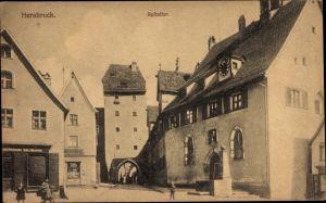 Ak Hersbruck im Nürnberger Land Bayern, Spitaltor mit Straßenpartie, Geschäfte, Brunnen