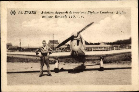 Ak Evere Brüssel, Aviation Appareil de tourisme Biplace Caudron Aiglon, moteur Renault 110