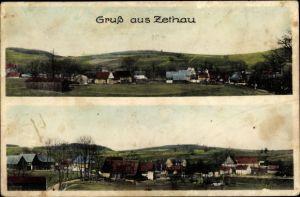 Ak Zethau Mulda Mittelsachsen, Totalansicht der Ortschaft mit Umgebung