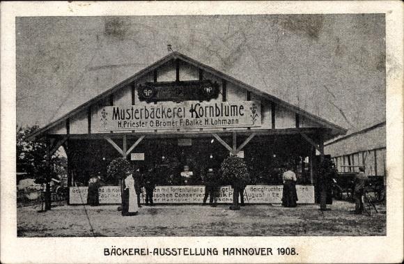 Ak Hannover in Niedersachsen, Bäckereiausstellung 1908, Musterbäckerei Kornblume