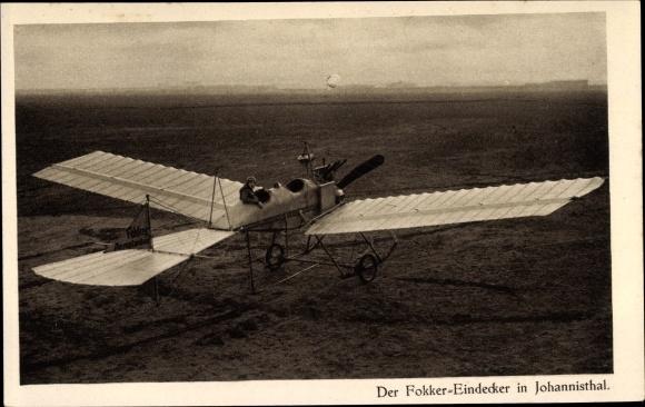 Ak Berlin Treptow Johannisthal, Der Fokker Eindecker, Flugzeug