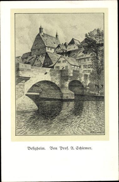 Künstler Ak Schirmer, Besigheim im Kreis Ludwigsburg, Teilansicht vom Ort, Brücke