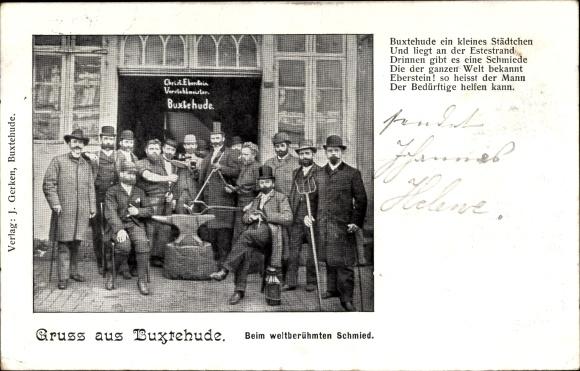 Ak Buxtehude im Kreis Stade, Gruppenbild beim weltberühmten Schmied, Chr. Eberstein