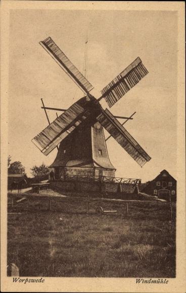 Ak Worpswede in Niedersachsen, Totalansicht von der Windmühle