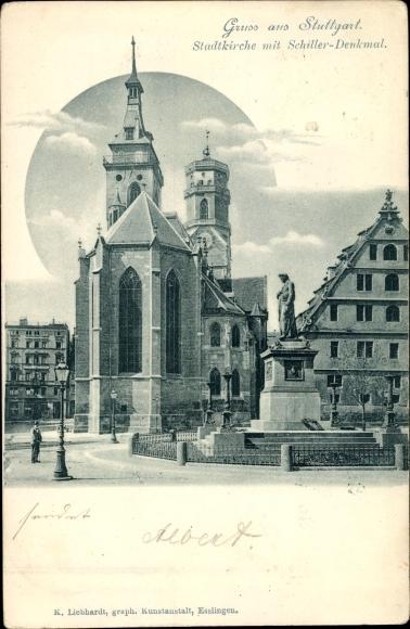 Ak Stuttgart in Baden Württemberg, Stadtkirche mit Schillerdenkmal