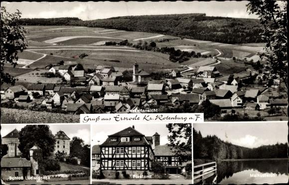 Ak Ersrode Ludwigsau in Hessen, Gesamtansicht, Schloss Ludwigseck, Forstamt, Malkusteich
