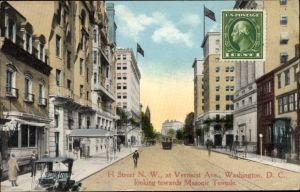 Ak Washington DC USA, H Street NW at Vermont Avenue looking towards Masonic Temple, Straßenansicht