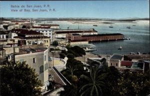 Ak San Juan Puerto Rico, Bahia, View of the Bay, Blick auf den Hafen