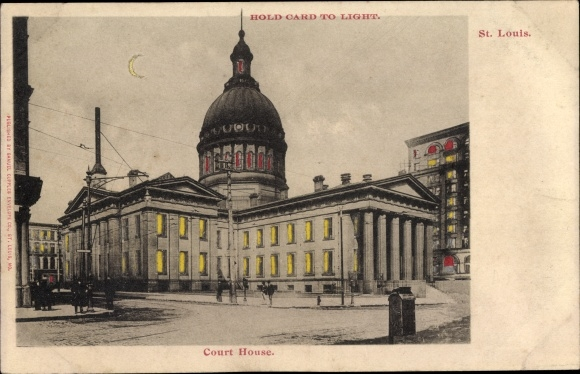 Haltgegendaslicht Ak St Louis Missouri USA, Court House, Justizgebäude