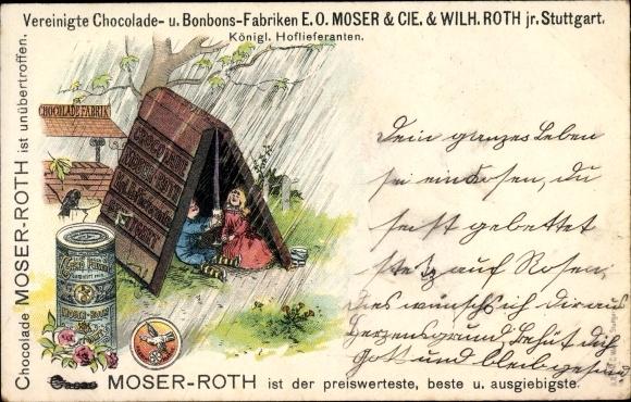 Litho Stuttgart, Schokolade- und Bonbon Fabriken E.O. Moser & Co & Wilh. Roth, Reklame