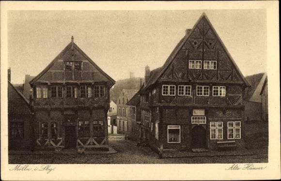 Ak Mölln im Herzogtum Lauenburg, Alte Häuser