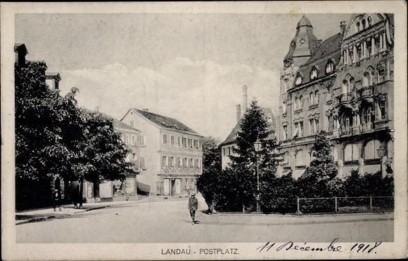 Ak Landau in der Pfalz, Partie auf dem Postplatz
