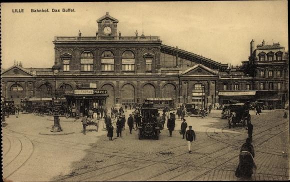 Ak Lille Nord, La Gare, Blick auf den Bahnhof, Buffet, Straßenbahn, Autos