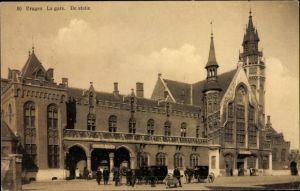 Ak Bruges Brügge Flandern Westflandern, La Gare, De Statie, Bahnhof, Vorderansicht