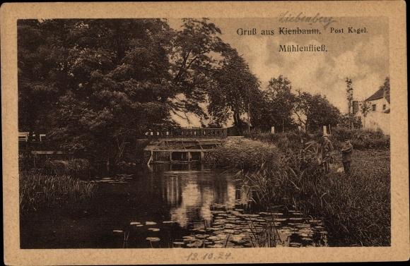Ak Kienbaum Grünheide in der Mark, Partie am Mühlenfließ, Anwohner