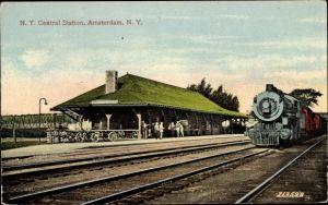 Ak Amsterdam New York State USA, Central Station, Bahnhof, Dampflok