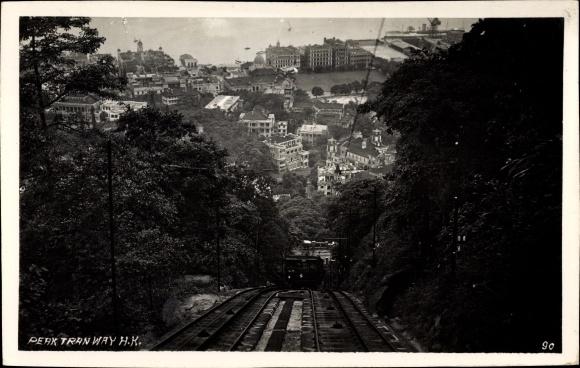 Ak Hongkong China, Peak Tramway, Bergbahn, Standseilbahn