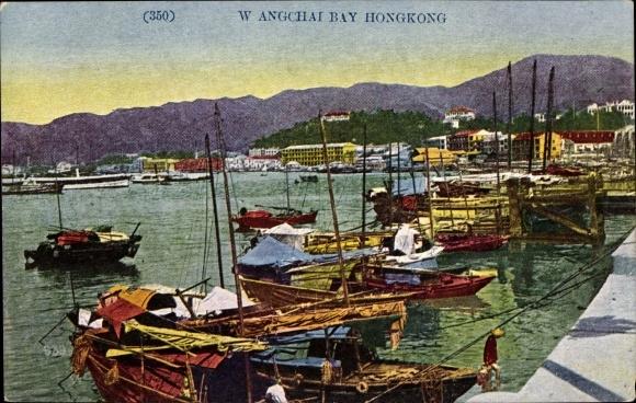 Ak Hongkong China, Wangchai Bay, Boote im Hafen