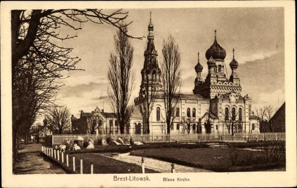 Ak Brest Litowsk Weißrussland, Blaue Kirche