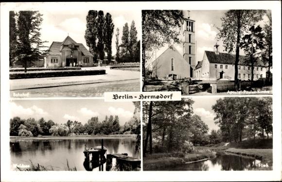 Ak Berlin Reinickendorf Hermsdorf, Stadtansichten, Bahnhof, Kirche, Waldsee, Fließ
