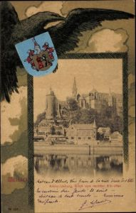 Wappen Passepartout Ak Meißen in Sachsen, Albrechtsburg, Blick vom Elbufer