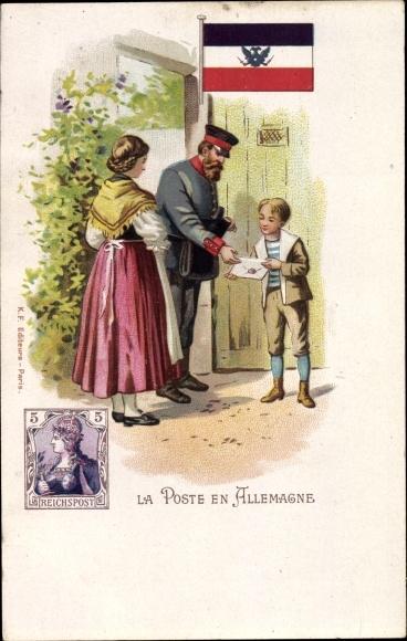 Briefmarken Ak La Poste en allemagne, Deutscher Briefträger