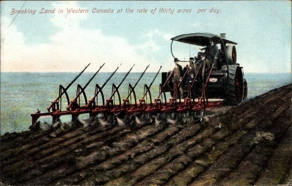 Ak Kanada, Breaking Land in Western Canada at the rate of thirty acres per day, Traktor, Ackerpflug