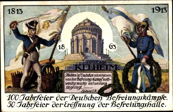 Künstler Ak Kelheim a. d. Donau,100 Jahrfeier der Dt. Befreiungskämpfe, Befreiungshalle