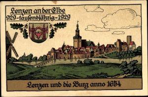 Steindruck Ak Lenzen an der Elbe im Kreis Prignitz, Ort mit Burg anno 1654