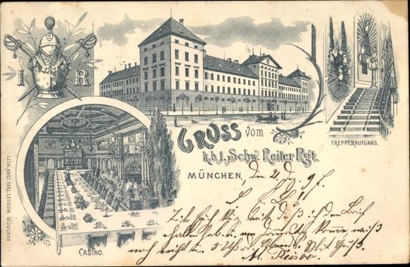 Regiment Litho München Bayern, KB 1. Schw. Reiter Regiment, Kaserne, Treppenaufgang, Kasino