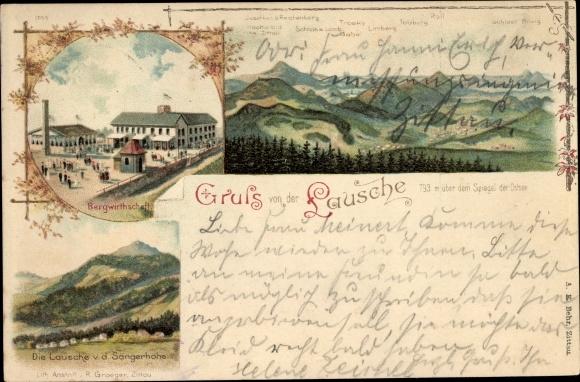 Litho Waltersdorf Großschönau Oberlausitz, Lausche von der Sängerhöhe aus, Bergwirtschaft, Gebirge