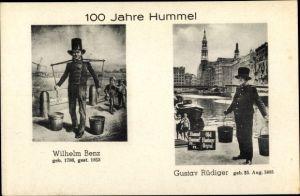 Ak Hamburg Mitte Altstadt, 100 Jahre Hummel, Wilhelm Benz, Gustav Rüdiger, Wasserträger