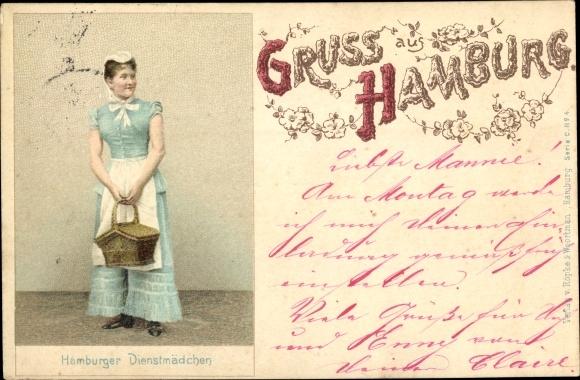 Litho Hamburg, Portrait von einem Hamburger Dienstmädchen mit Korb