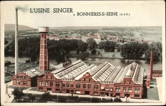 Ak Bonnières sur Seine Yvelines, L'Usine Singer, Singer Nähmaschinen Fabrik, Machines a Coudre