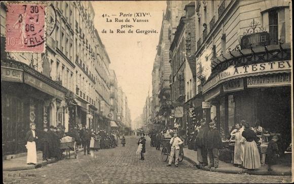 Ak Paris, La Rue de Vanves prise de la Rue de Gergovie, Geschäft F. Michel, Passanten