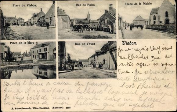 Ak Viabon Eure et Loir, Rue de Fains, Place de la Mairie, Place de la Mare, Rue de Voves
