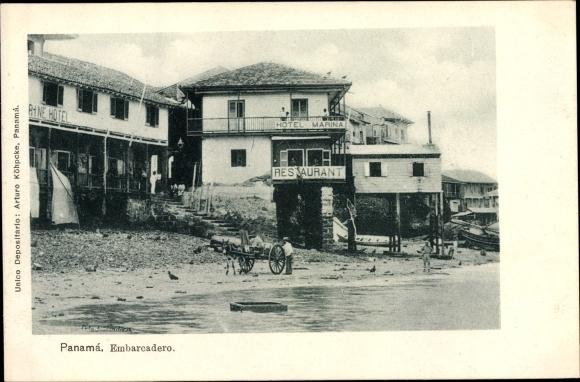 Ak Ciudad de Panama, Embarcadero, Hotel Restaurant Marina, Uferpartie, Eselskarren