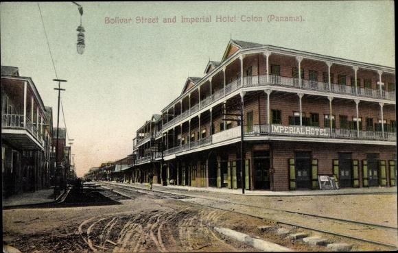 Ak Colón Panama, Bolivar Street and Imperial Hotel, Straßenansicht