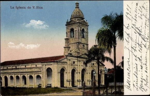 Ak Villa Rica Paraguay, La Iglesia, Die Kirche, Landkarte