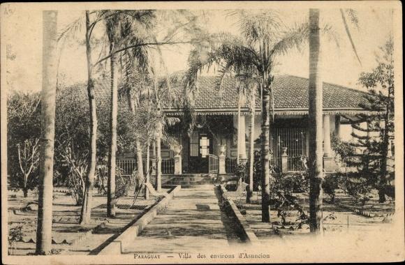 Ak Asuncion Paraguay, Villa, Gartenpartie mit Zugang zum Wohnhaus