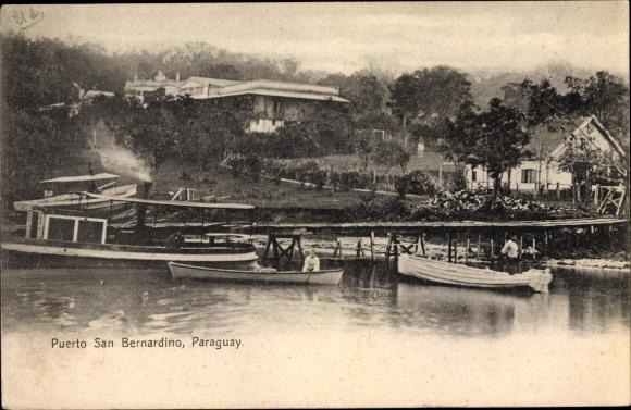 Ak San Bernardino Paraguay, El Puerto, Boote im Hafen, Wohnhäuser