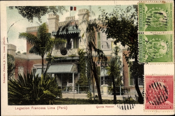 Ak Lima Peru, Legacion Francesa, Quinta Heeren, Französische Gesandtschaft