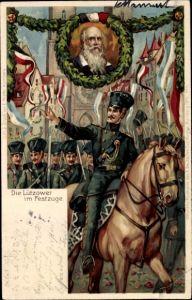 Künstler Litho Nürnberg, X. Deutsches Turnfest 1903, Die Lützower im Festzug, Turnvater Jahn